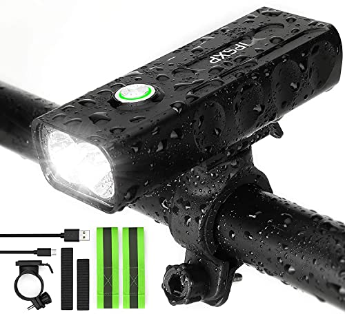IPSXP Bike Light, USB Rechargeable Bicycle Cycling Headlight Bicycle Front Light Mountain Bike Light 1000 Lumen LED Flashlight with 3 Modes, IPX5 Waterproof Bike Light from IPSXP