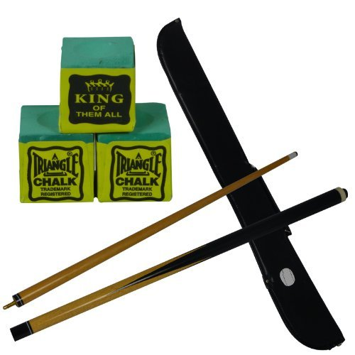 2 piece trade quality 48 inch snooker / pool cue with FREE cue case & 3 FREE Triangle Green Chalks from R.L.B.C Sales