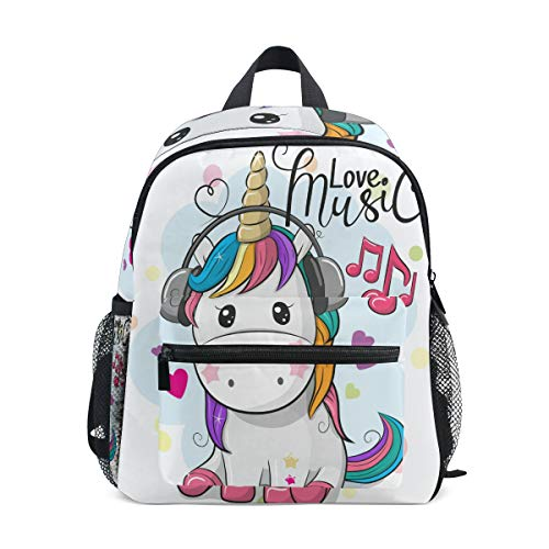 ISAOA Cute Music Unicorn Children's Backpack for Girls,Kid's Schoolbag for Kindergarten Preschool Toddler Baby Nursery Travel Bag with Chest Clip from ISAOA