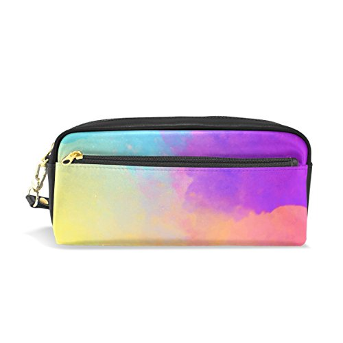 ISAOA Large Capacity Pencil Case and PU Leather Pen Bag Art Watercolor Comestic Makeup Bag for Girls and Boys from ISAOA