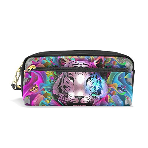 ISAOA Large Capacity Pencil Case and PU Leather Pen Bag Color Tiger Zipper Stationery Supplies Pencil Pouch Comestic Makeup Bag for Girls and Boys from ISAOA