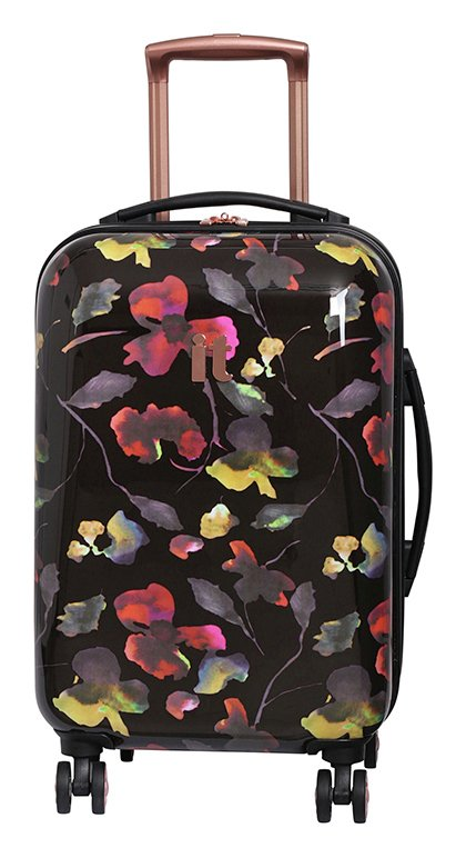 3ca6acffc9e IT Luggage 8 Wheel Black Floral Print Cabin Suitcase from IT Luggage