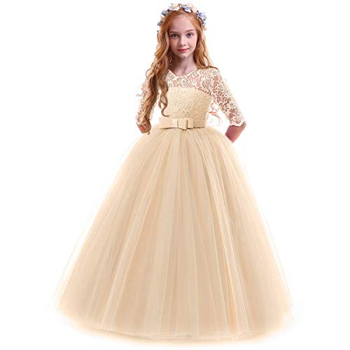 3f3c6afe4e39 IWEMEK Flower Girls 3/4 Sleeve Floral Lace Tulle First Communion Pageant  Dresses Kids Big