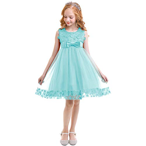 45f949d9b1a8 IWEMEK Kids Flower Girls Lace Tulle Dress Princess Birthday Party Dress  with Bowknot Birthday Party Wedding