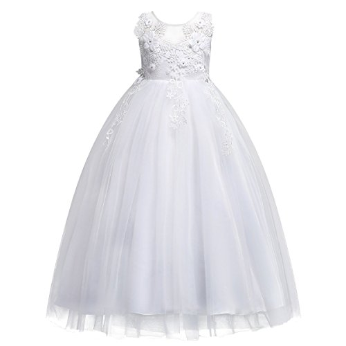 21b080fced3 Kids Big Girls Bridesmaid Tulle Lace Dress School Girls Elegant Communion  Ball Gown Dance Pageant Birthday