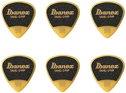 Ibanez PPA16HSGYE Grip Wizard Series, Sand Grip Picks 6 Pack 1.0mm , Yellow from Ibanez
