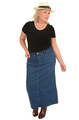Ladies Women's Light Blue Stonewash Stretch Denim Maxi Skirt Sizes 16 To 30 (22) from Ice Cool