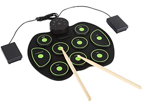 Icegrey Portable Electronic Drum Pad Digital Roll Up Touch Sensitive Drum Practice Kit Holiday Gift for Kids Children Beginners green One size from Icegrey