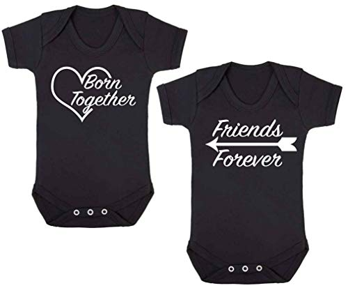 Born Together Friends Forever Twin Set Baby Vests Babygrow Bodysuit Onesie Baby Shower Gifts Funny Black (6-12 Months) from ICKLE PEANUT