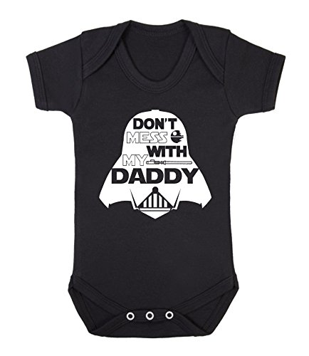 Don't Mess with My Daddy Star Wars Novelty Baby Sleepsuit Vest Babygrow Onesie Funny Jedi (0-3 Months, Black) from ICKLE PEANUT