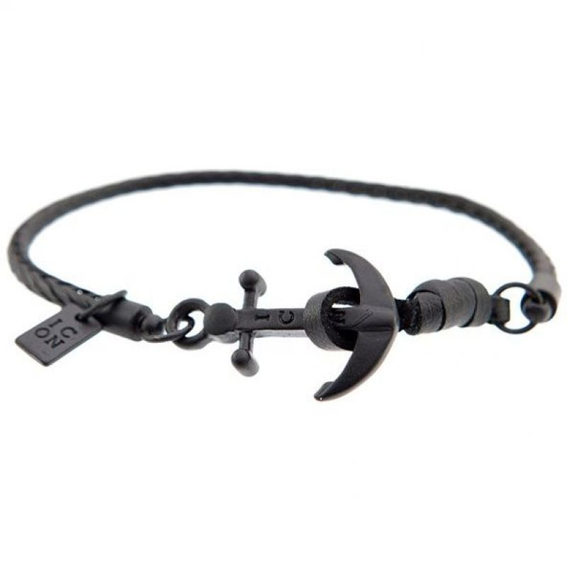 Mens Icon Brand Black Ion-plated Steel Anchor Watt Bracelet from Icon Brand Jewellery