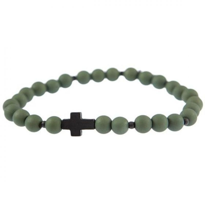 Mens Icon Brand Black Ion-plated Steel Cross Breed Bracelet from Icon Brand Jewellery