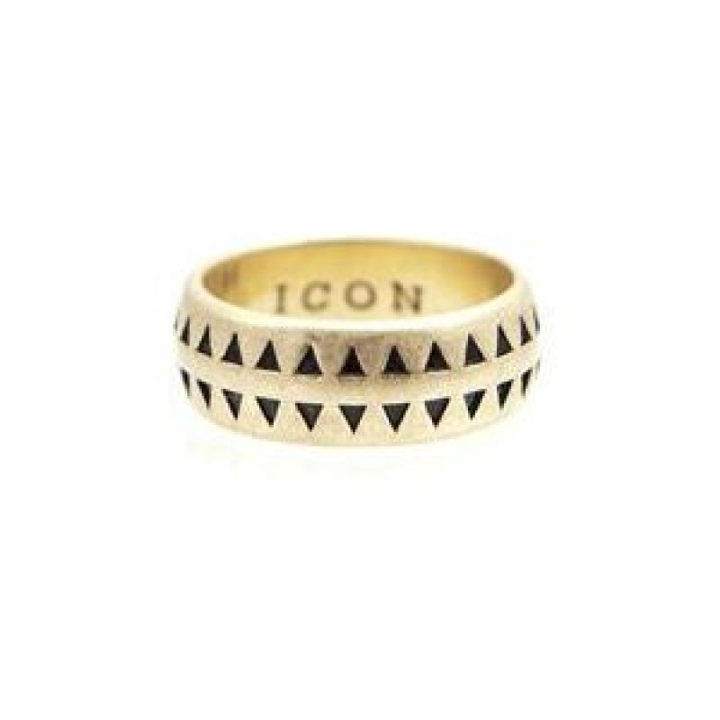 Mens Icon Brand Gold Plated Hound Tooth Ring Size Large from Icon Brand Jewellery
