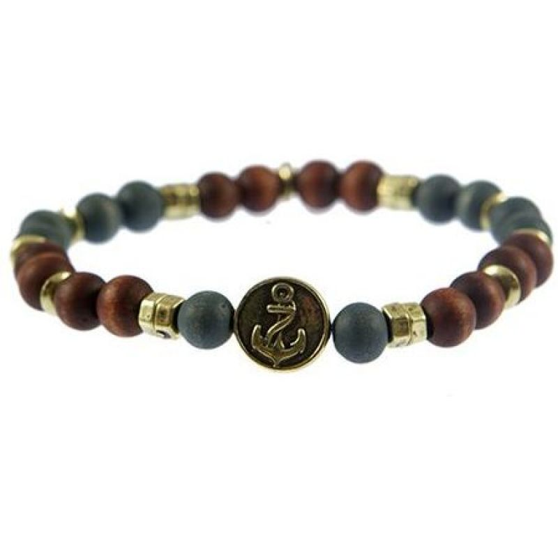 Mens Icon Brand Gold Plated Merchant Anchor Bead Bracelet from Icon Brand Jewellery