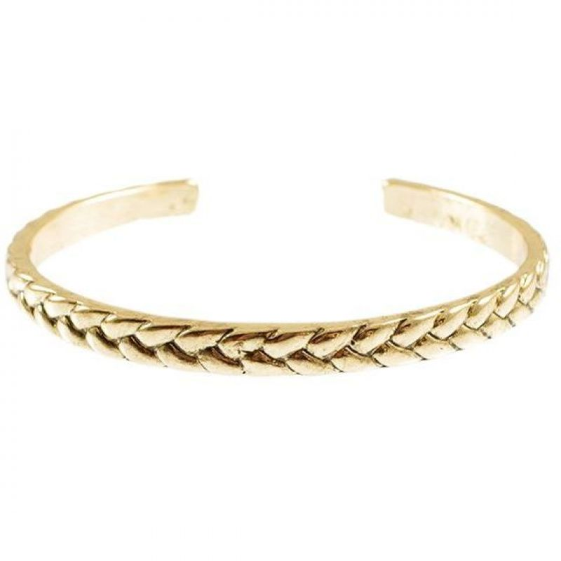 Mens Icon Brand Gold Plated Rattan Cuff Bracelet from Icon Brand Jewellery