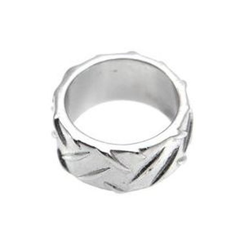 Mens Icon Brand Silver Plated Grip Step Ring Size Large from Icon Brand Jewellery