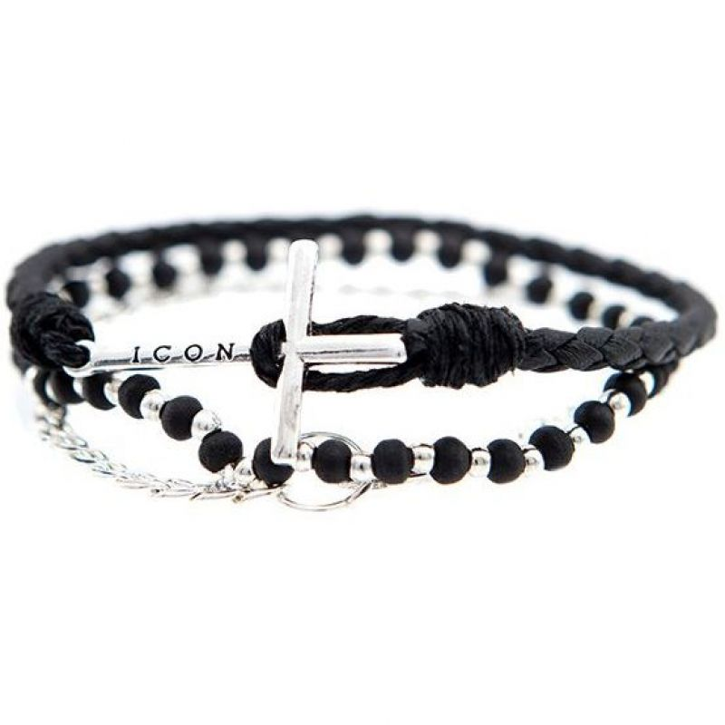 Mens Icon Brand Silver Plated Onwards Combo Bracelet Set from Icon Brand Jewellery