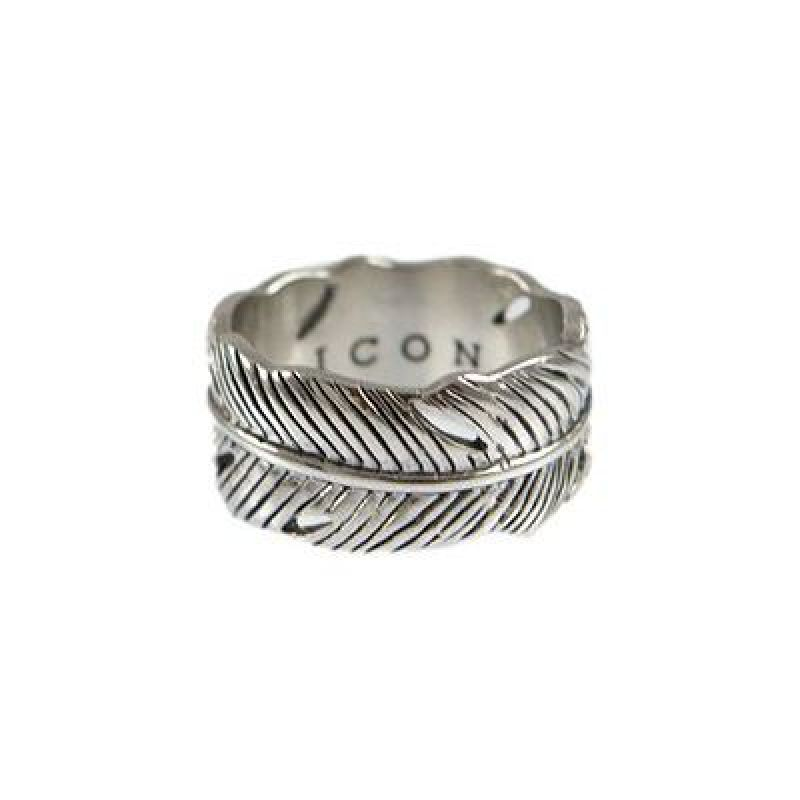 Mens Icon Brand Silver Plated Size Medium Plume Ring from Icon Brand Jewellery