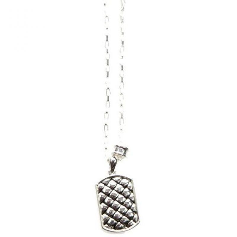 Mens Icon Brand Silver Plated Strip Weave Necklace from Icon Brand Jewellery