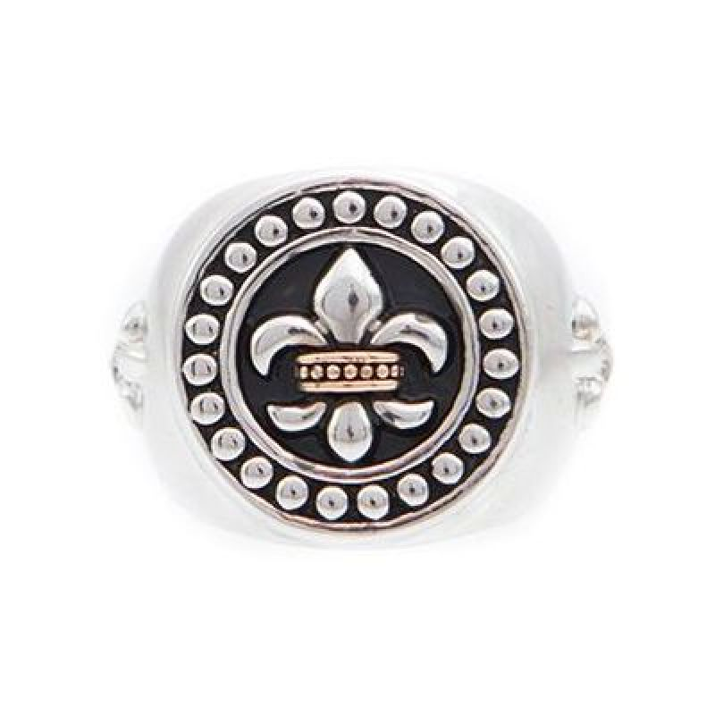 Mens Icon Brand Two-Tone Steel and Rose Plate Rebel Heritage Lys Sovereign Ring Size Large from Icon Brand Jewellery