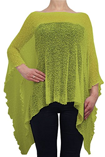 Ladies Crochet Lace Fish Net Batwing Poncho (One Size, Lime) from Ikat