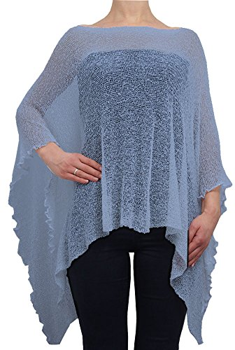 Ladies Crochet Lace Fish Net Batwing Poncho (One Size, Mid Blue) from Ikat