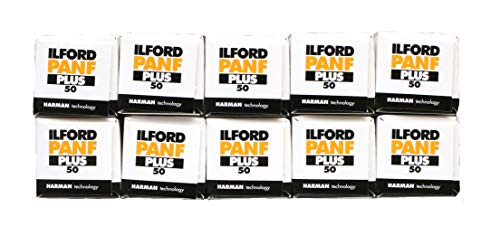 Ilford PanF+, 50 asa, 120 B&W film, multipack of 10 [Camera] 12 exposures for 6x6 camera from Ilford