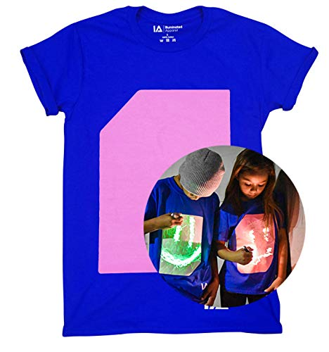 Illuminated Apparel Interactive Glow in The Dark T-Shirt Royal Blue Peach (9-11 Years) from Illuminated Apparel