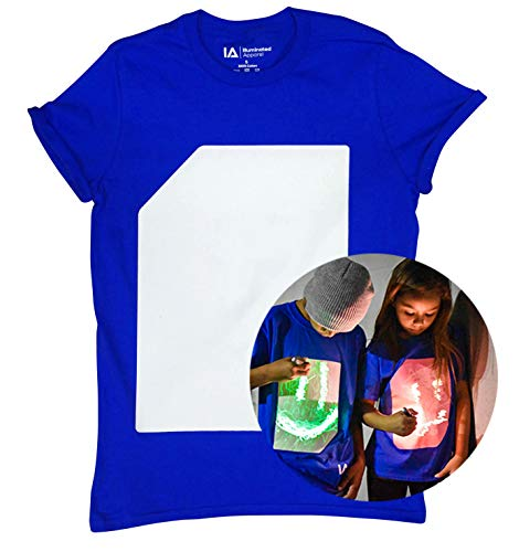 Illuminated Apparel Interactive Glow in The Dark T-Shirt Royal Blue Green (12-14 Years) from Illuminated Apparel