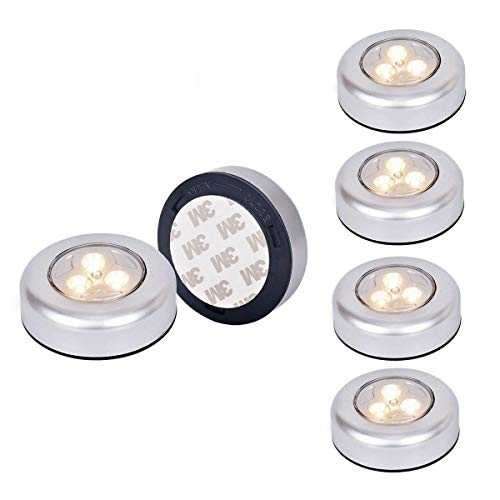 Ilyever 6 Pack Warm LED Battery-Powered Wireless Night Light Stick Tap Touch Lamp Stick-on Push Light for Closets, Cabinets, Counters, or Utility Rooms,Cordless Touch Light from Ilyever