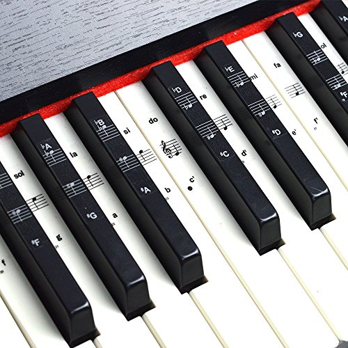 Imelod Keyboard or Piano Stickers for 49/61/76/88 Key Keyboards, Piano and Keyboard Music Note Full Set Stickers for White and Black Keys, Transparent and Removable,Perfect for Kids and Beginners from Imelod
