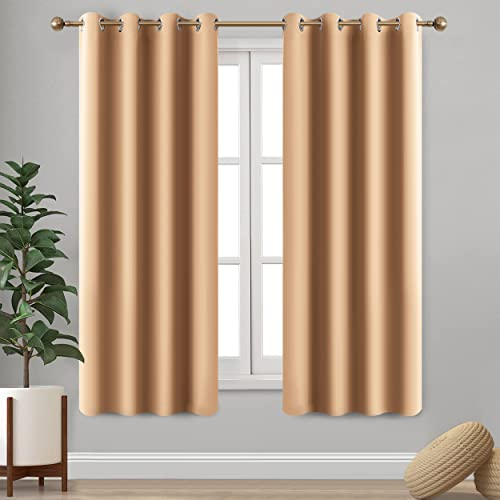 Imperial Rooms Window blinds Blackout Eyelet Curtains Pair of thermal insulated (Beige / 66x54) Ring top for Plain Room darkening Living Rooms Nursery Bedrooms Energy saving with Two Tie Backs from Imperial Rooms