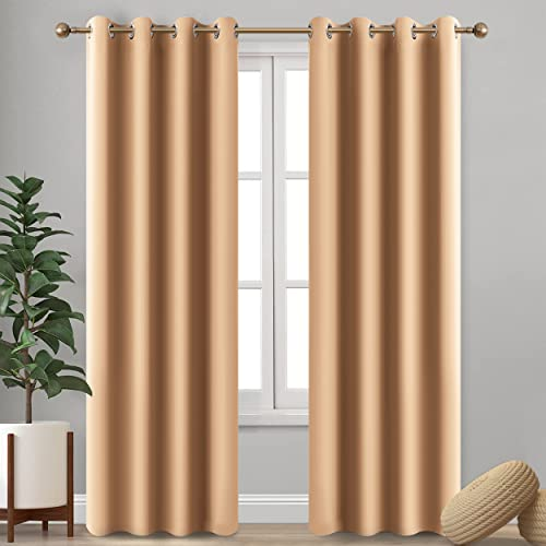 Imperial Rooms Bedrooms Blackout Eyelet Curtains Pair of Luxury insulated (Beige / 90x72) Ring top for Nursery Kids Room Window blinds Heat Gain Sunlight & Noise reducing with Two Tie Backs from Imperial Rooms