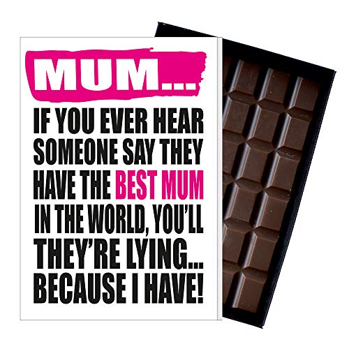 Funny Mother's Day Gifts Silly Presents for Mum Rude Cards for Mummy Quirky Greetings for Mother 85 Gram Oncocoa Boxed Belgian Milk Chocolate Bar for Mom MIYF132 from Oncocoa