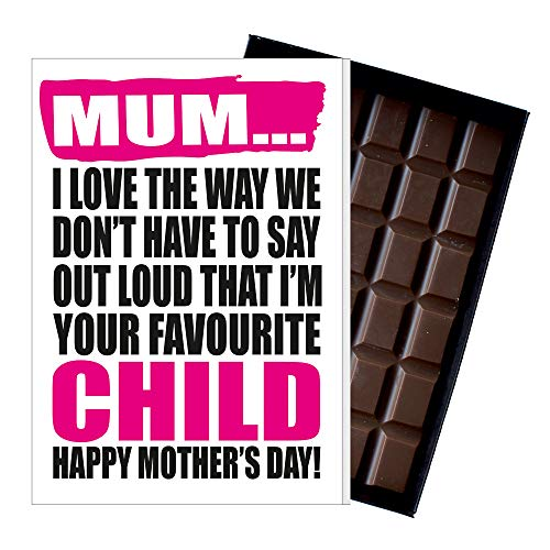 Funny Mother's Day Gifts Silly Presents for Mum Rude Cards for Mummy Quirky Greetings for Mother 85 Gram Oncocoa Boxed Belgian Milk Chocolate Bar for Mom MIYF112 from Oncocoa