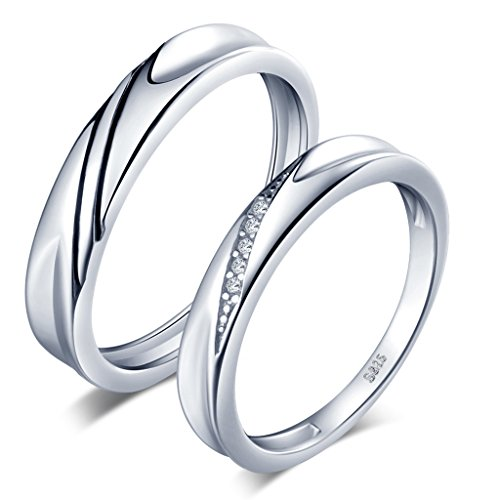 Infinite U Simple Wave 925 Sterling Silver Cubic Zirconia Couple/Lovers Band Ring Wedding Promise Engagement Anniversary Ring Set, Ring Size R 1/2 from Infinite U