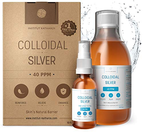 Highest Purity Colloidal Silver 300mL ● 40 PPM ● Free Spray to Fill ● Superior Concentration, Smaller Particles, Better Results ● Premium All Natural Antibacterial, Antifungal & Antivirus from Institut Katharos