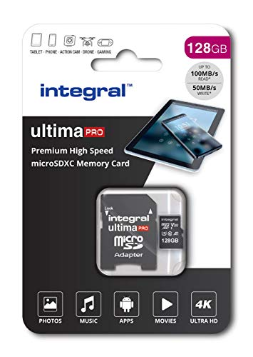 Integral 128GB Micro SD Card 4K Video Premium High Speed Memory Card SDXC Up to 100MB s Read Speed and 50MB s Write speed V30 UHS-I U3 Class 10 from Integral