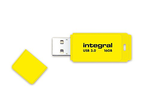 Integral INFD16GBNEONYL3.0 Neon 16 GB USB 3.0 Flash Drive - Yellow (Up to 110 MB/s) from Integral