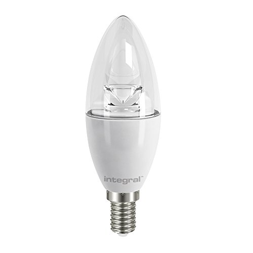 Integral LED Warm Light Non-Dimmable LED Bulb Clear Candle Lamp (E14 Small Screw, 5.5 W, 2700 k, 470 lm) - White from Integral