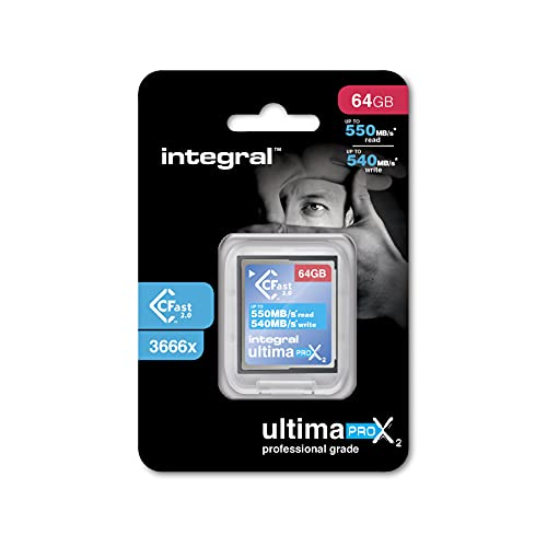 Integral 64GB Cfast Card 2.0 High Performance with read speed up to 550MB/s and write speed up to 540MB/s from Integral