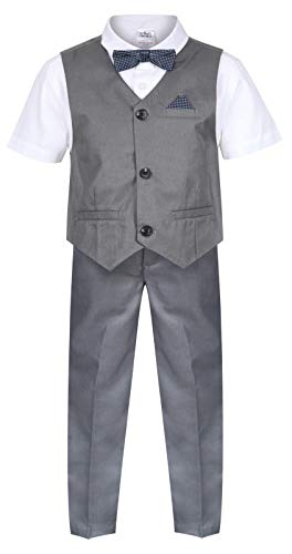Boys Waistcoat Set Grey 4 Piece Boys Wedding Suit Page Boy Party Ceremony Prom 9 Months to 14 Years from Integriti Clothing