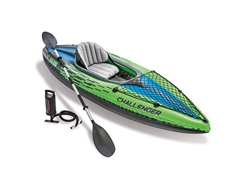 Intex Challenger K1 Kayak 1 Man Inflatable Canoe with Aluminum Oars and Hand Pump from Intex