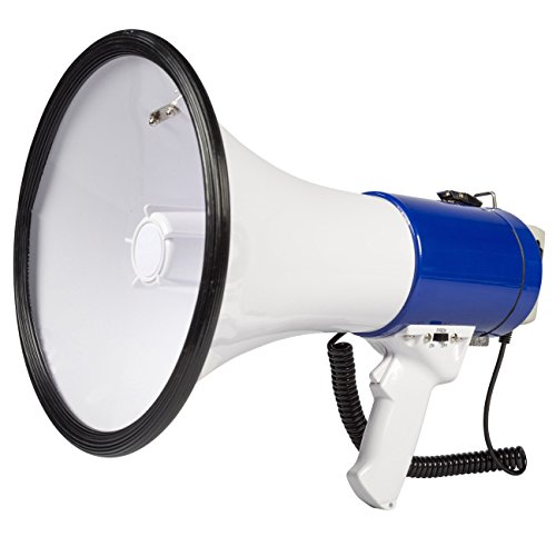 Invero® Professional 25W Super Loud Megaphone with Detachable Handheld Microphone, Built-In Siren, Adjustable Volume and Shoulder Strap - 1000 Meter Range - White / Blue from Invero®