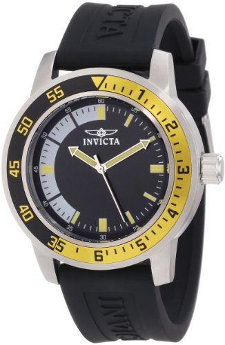 Invicta Specialty Men's Quartz Watch with Black Dial  Analogue display on Black Plastic Strap 12846 from Invicta