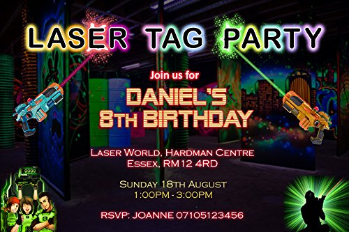 Laser Tag Party Invitations Birthday Invites (Personalised) from Invitebay UK
