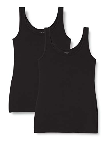Iris & Lilly Women's Tan Top Cotton Basic, Pack of 2 2 x Black Small from Iris & Lilly