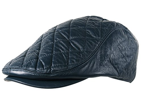 eb2aefe59a260 Itzu Men's Quilted Check Flat Cap Hat Faux Leather Cabbie Newsboy Golf  Gatsby Lined (Teal