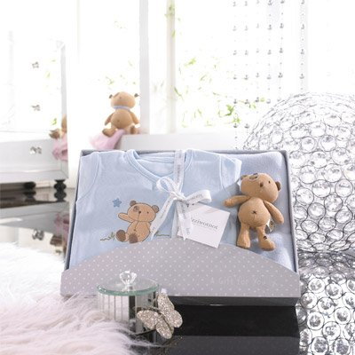 Izziwotnot Cherish 3 Piece Luxury Baby Gift Box Set, Forget-Me-Not Blue, 9-12 Months from Izziwotnot