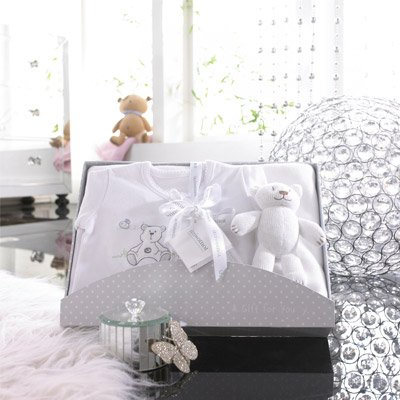 Izziwotnot Cherish 3 Piece Luxury Baby Gift Box Set, Lily White, 9-12 Months from Izziwotnot